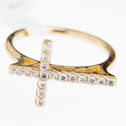 Кольцо Xuping№371 оптом крестик с белыми камнями.