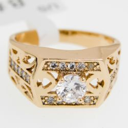 Кольцо Xuping№392 оптом под золото с цирконами.