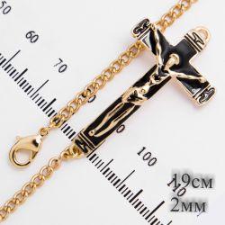 Браслет Xuping№371 оптом 19 см под золото с крестиком.