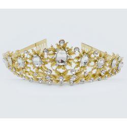 Диадема№229 оптом с цветами под золото.