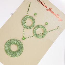 Колье№456 оптом с кругами в зеленых камнях.