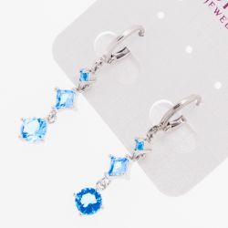 Серьги Xuping№1523 оптом с цирконами голубого цвета.