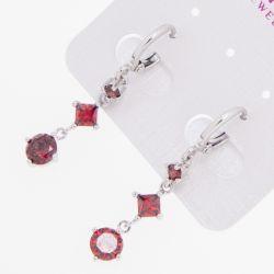 Серьги Xuping№1524 оптом с цирконами красного цвета.