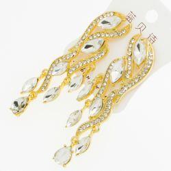 Серьги№1930 шикарные висюльки с белыми стразами на металле под золото