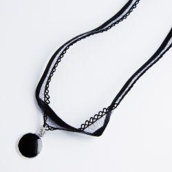Чекер№2248 оптом с круглым черным кулоном.