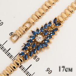 Браслет Xuping№448 17 см оптом с синими камнями.