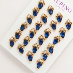 Гвоздики Xuping№1676 оптом с каплей синего цвета.