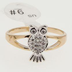 Кольцо Xuping№445 оптом белая сова с цирконами.