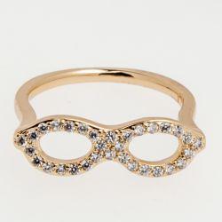 Кольцо Xuping№455 оптом под золото очки с белыми камнями.