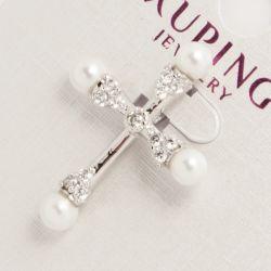 Крестик Xuping№681 оптом с белыми жемчужинами.