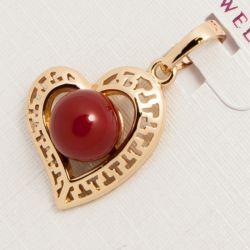 Кулон Xuping№751 оптом сердечко с бордовым шариком.