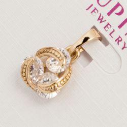 Кулон Xuping№790 оптом с белыми цирконами в золотом обрамлении.