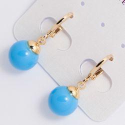 Серьги Xuping№1783 оптом с шариком голубого цвета.