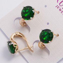 Серьги Xuping№1941 оптом с камнем зеленого цвета.