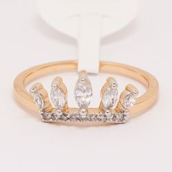 Кольцо Xuping№469 оптом в форме короны с белыми камнями.