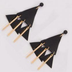 Серьги№2003 оптом кожаные треугольники с золотыми висюльками