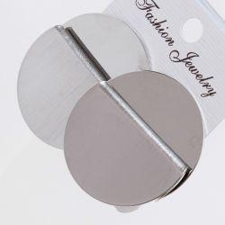 Серьги№2180 оптом под серебро круг с изгибом.