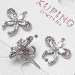 Серьги Xuping№2227 оптом белый цветочек с камнями.