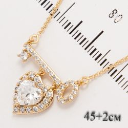 Цепочка Xuping№1019 45 + 2 см оптом оригинальная с сердечком и ключиком.