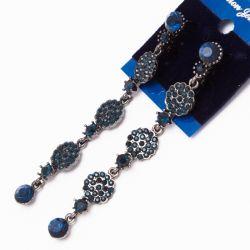 Серьги№2276 оптом с голубыми стразами на основе под серебро.