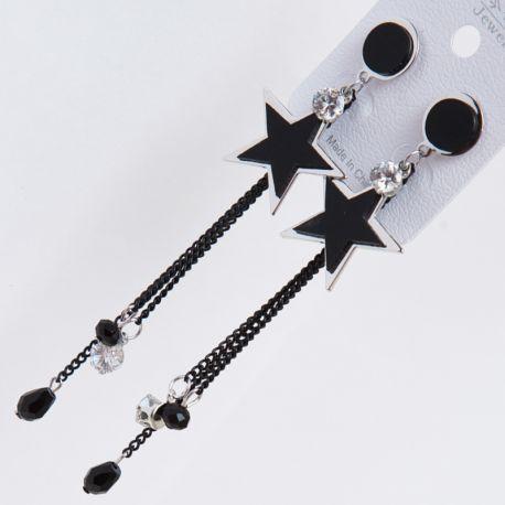 Серьги№2304 висюльки с черными звездочками и металлическими цепочками оптом