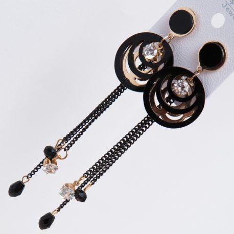 Серьги№2305 висюльки с металлическими цепочками и черными стразиками оптом