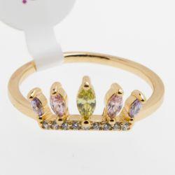 Кольцо Xuping№506 оптом с розовыми и желтыми цирконами