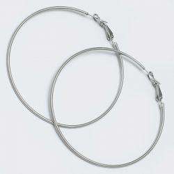Серьги-кольца№1644 6.5 см цена за 12 шт оптом белого цвета.