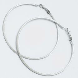 Серьги-кольца№1651 7.5 см цена за 12 шт оптом белого цвета.