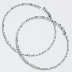 Серьги-кольца№1653 7.5 см цена за 12 шт оптом белые.