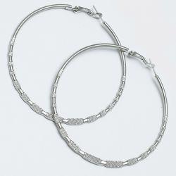 Серьги-кольца№1654 6.5 см цена за 12 шт оптом белые.