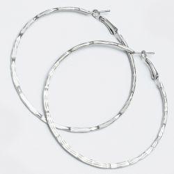 Серьги-кольца№1655 6.5 см цена за 12 шт оптом белые.
