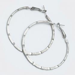 Серьги-кольца№1656 4.5 см цена за 12 шт оптом белые.