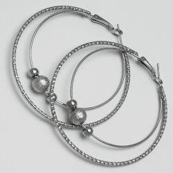 Серьги-кольца№1668 5.5 см цена за 12 шт оптом белые.
