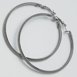 Серьги-кольца№1669 6 см цена за 12 шт оптом белые.