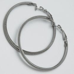 Серьги-кольца№1670 5.5 см цена за 12 шт оптом белые.