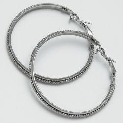 Серьги-кольца№1671 5 см цена за 12 шт оптом белые.