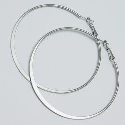 Серьги-кольца№1672 6.5 см цена за 12 шт оптом белые.