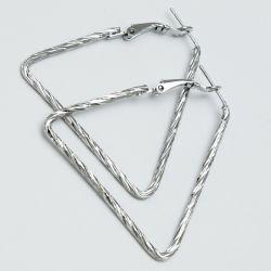 Серьги№1675 оптом цена за 12 шт треугольники под серебро.