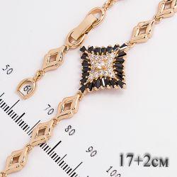Браслет Xuping№661 17 + 2 см оптом с цирконами на основе под золото.