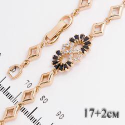 Браслет Xuping№662 17 + 2 см оптом с цирконами на основе под золото.