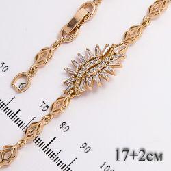 Браслет Xuping№665 17 + 2 см оптом с цирконами на основе под золото.