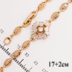 Браслет Xuping№667 17 + 2 см оптом с цветочком в белых цирконах.