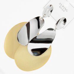 Серьги Xuping№2313 оптом металлические пластины с модным орнаментом