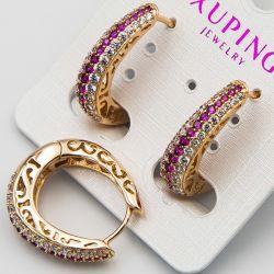 Серьги Xuping№2366 оптом с цирконами розового и белого цвета.