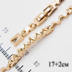 Браслет Xuping№703 17 + 2 см оптом стильный под золото.