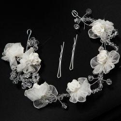 Украшение№308 оптом с розами белого цвета и хрусталиками.