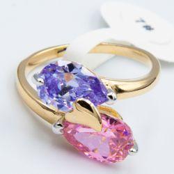 Кольцо Xuping№526 оптом с синим и розовым цирконом.