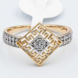Кольцо Xuping№530 оптом с белыми камнями и орнаментом.