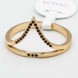 Кольцо Xuping№534 оптом с черными цирконами.